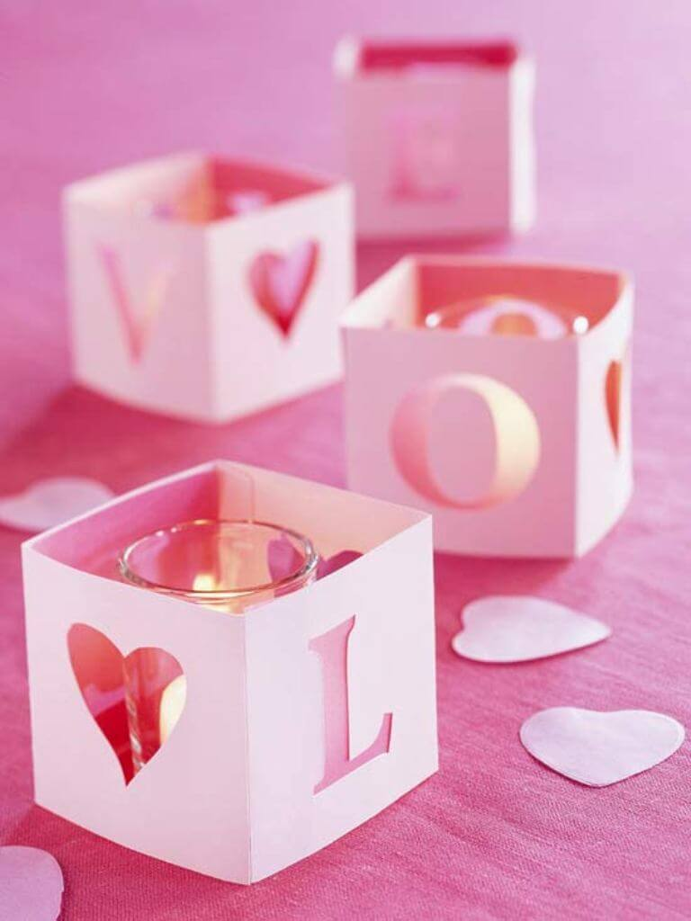 Pink Romantic candle holder