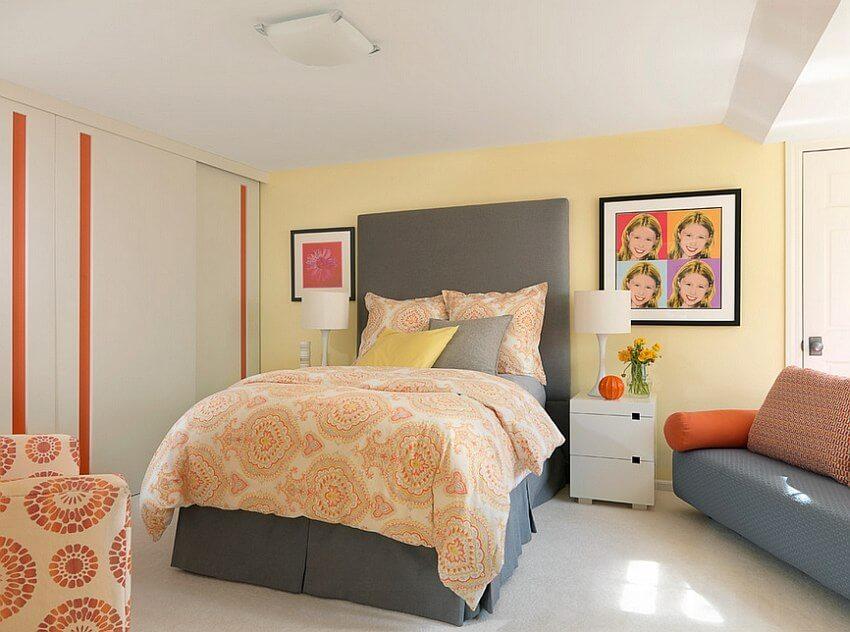 Pop Art Gray and Yellow Bedroom