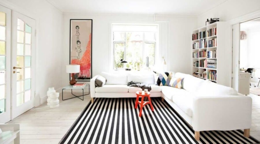 10 impressive living room designs with striped area rug - https