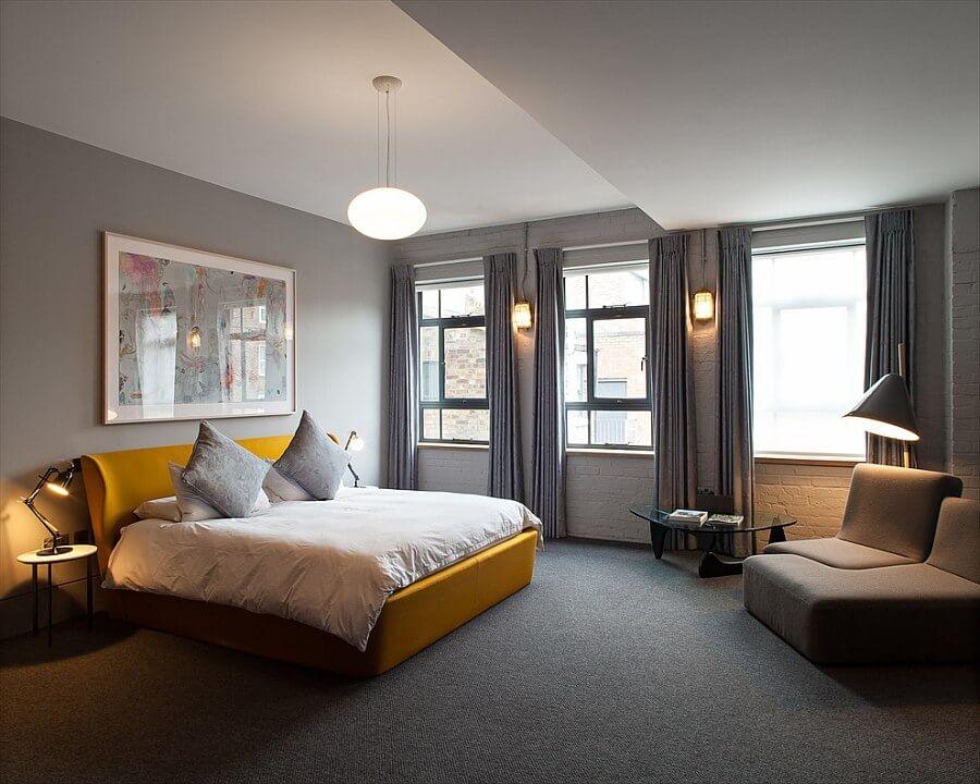 Stylish Gray and Yellow Bedroom