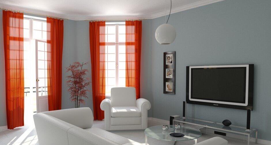 Stylish Tangerine and White Living Room