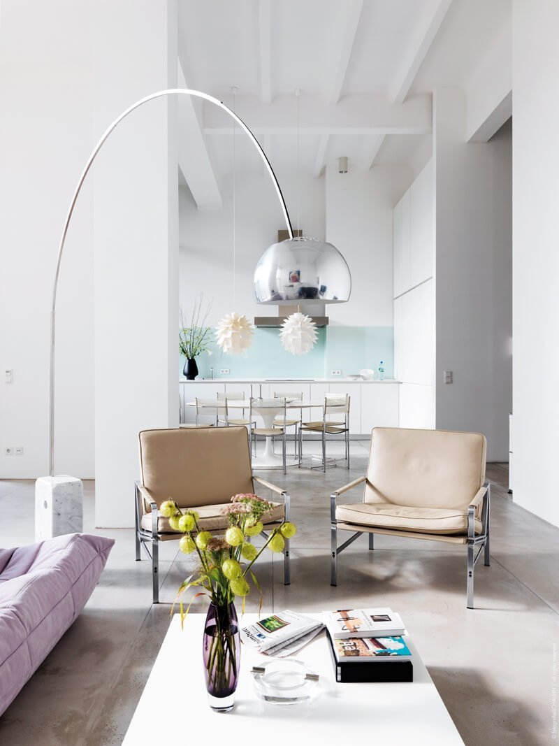 8 contemporary arc floor lamp designs as a perfect for Interior design ideas white living room