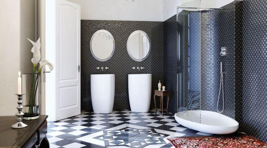 Art Deco High Contrast Bathroom