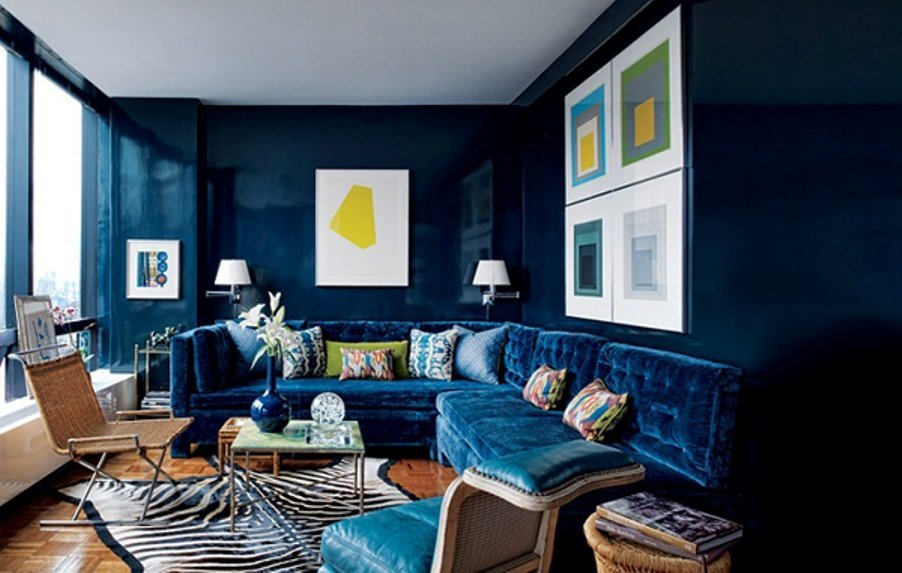 Break -Through Zbera Print Rug In Monochromatic Living Room