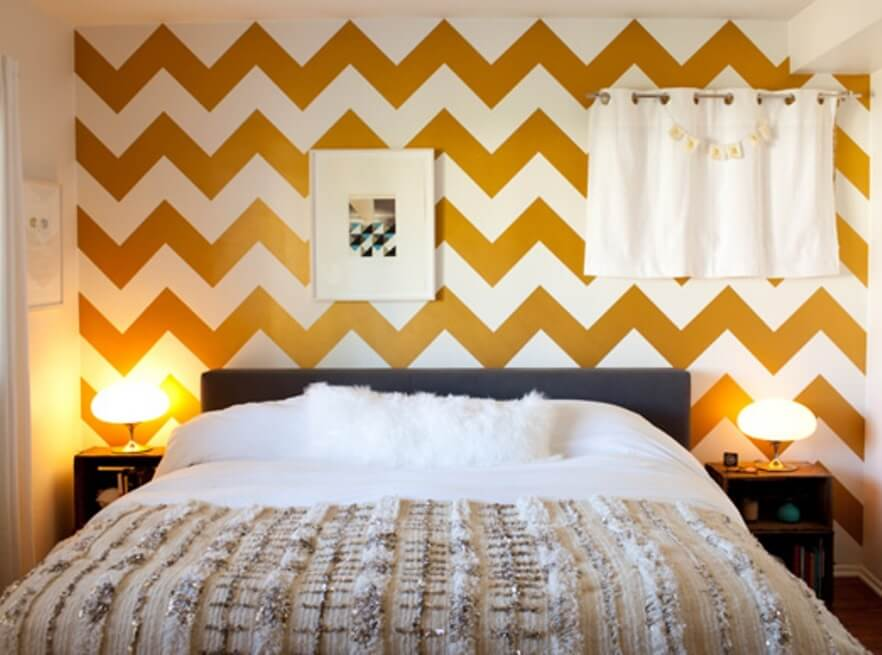 Charming Bedroom with Chevron Wall
