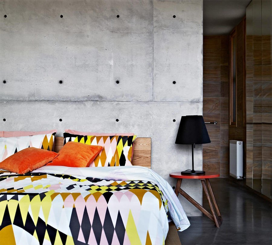 Chic Bedroom with Concrete Wall