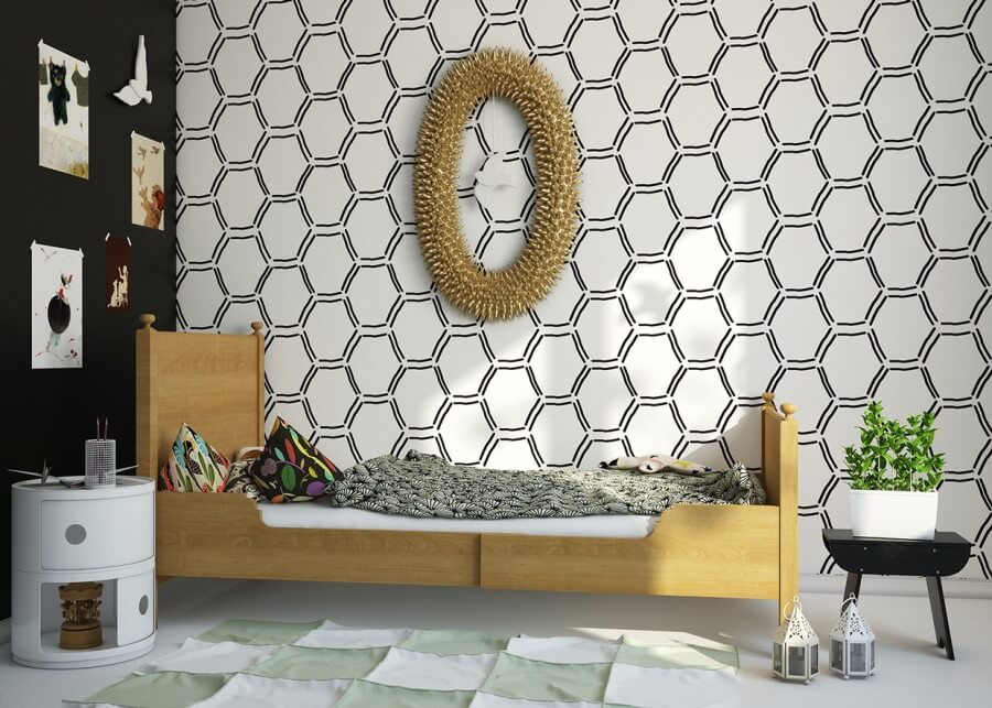 Chic Bedroom with Monochrome Geomtric Wallpaper
