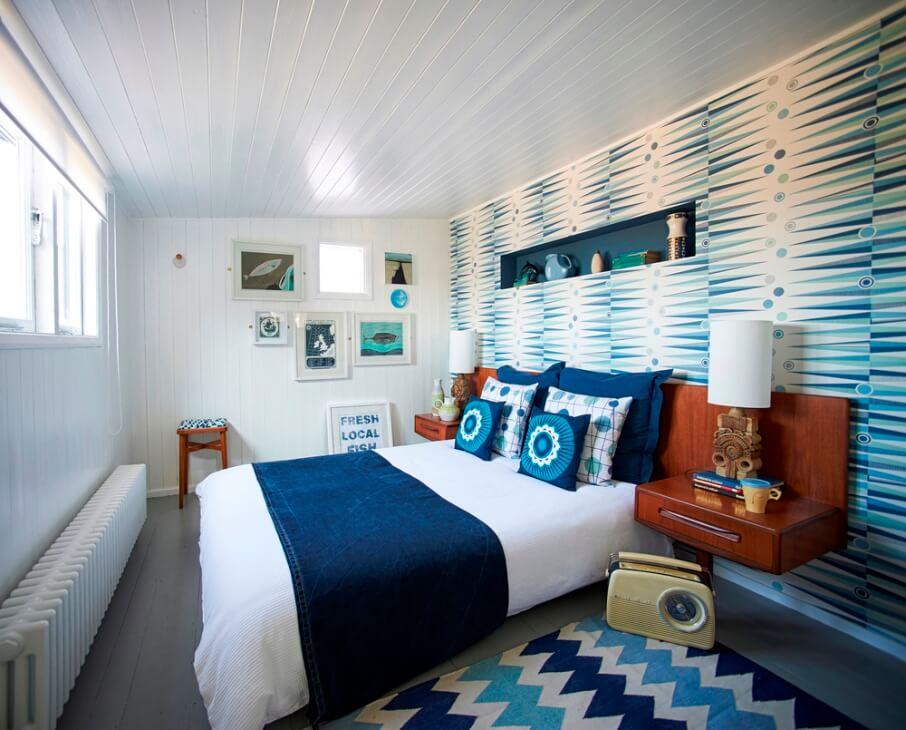 Coastal Bedroom wtih Geometric Wallpaper