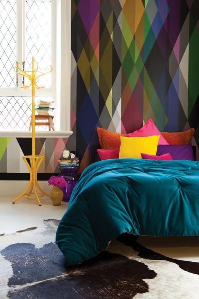 Colorful Bedroom with geometric wallpaper