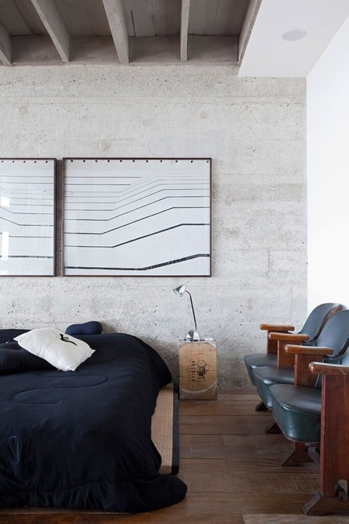 Contemporary Bedroom with Concrete Wall