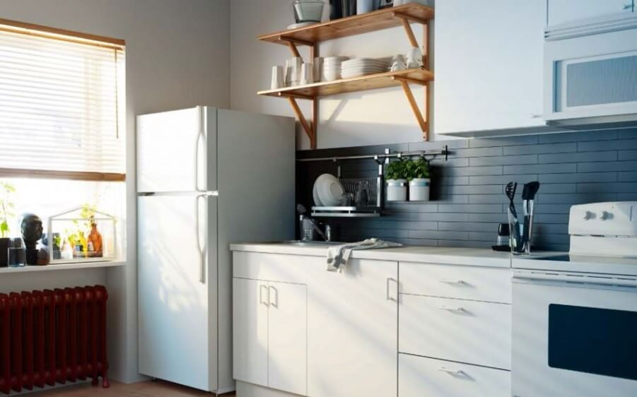 Contemporary Kitchen with FLoating Shelves