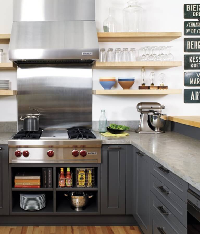 Cool Kitchen with Floating Shelves