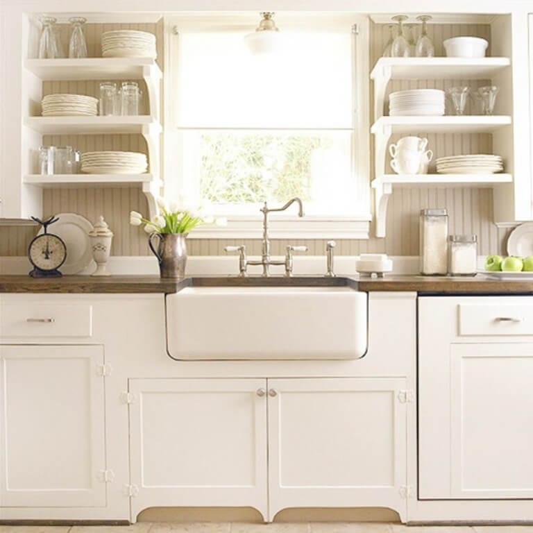 Country Kitchen with Floating Shelves