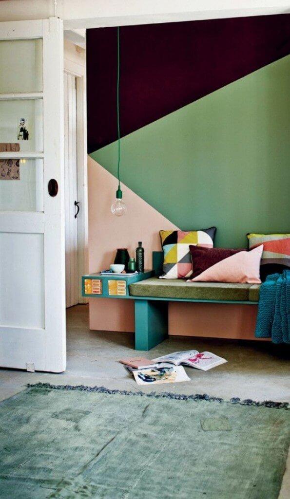 Geometric Color Block Hallway