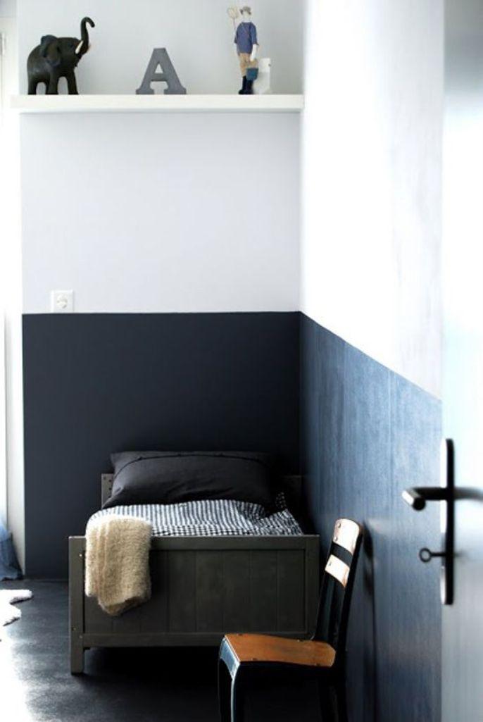 high contrast color block kid s bedroom wall