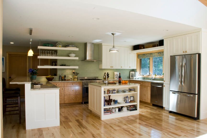 Homey Kitchen with Floating Shelves