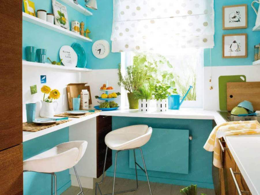 Lively Kitchen with Floating Shelves