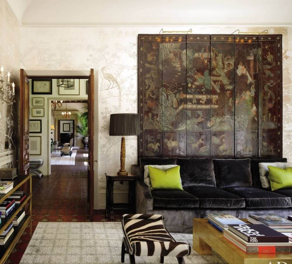 Luxurious Living Room with Zebra Print Otoman