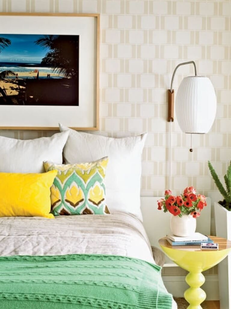 Perky Bedroom with Geometric Wallpaper