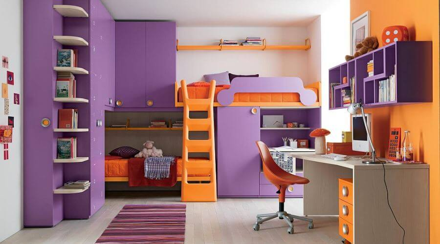 Purple Orange Bunk Bed