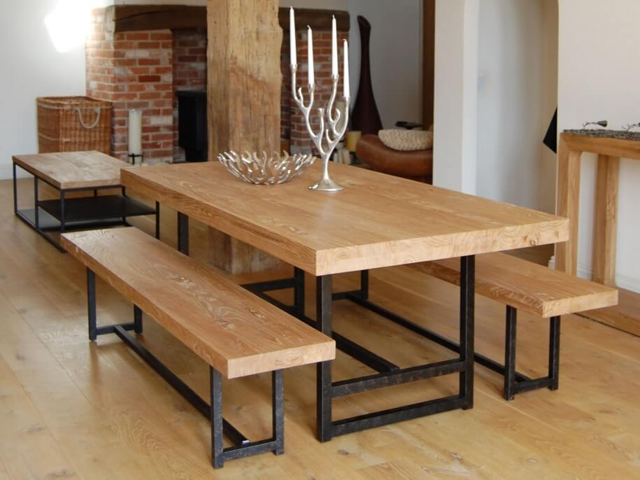 9 reclaimed wood dining table design ideas https for Wooden glass dining table designs