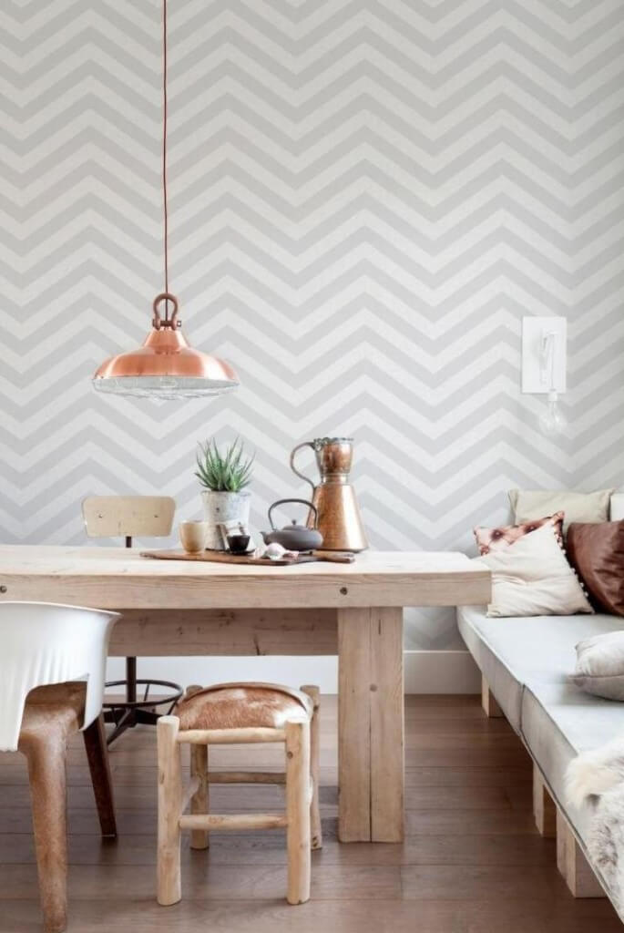 Geometric Wallpaper in 8 Bold Dining Room Designs ...