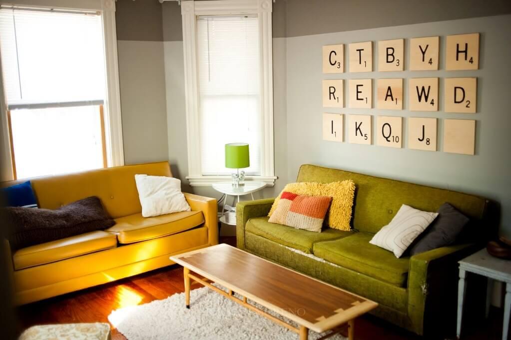 Scrabble Artwork In The Living Room