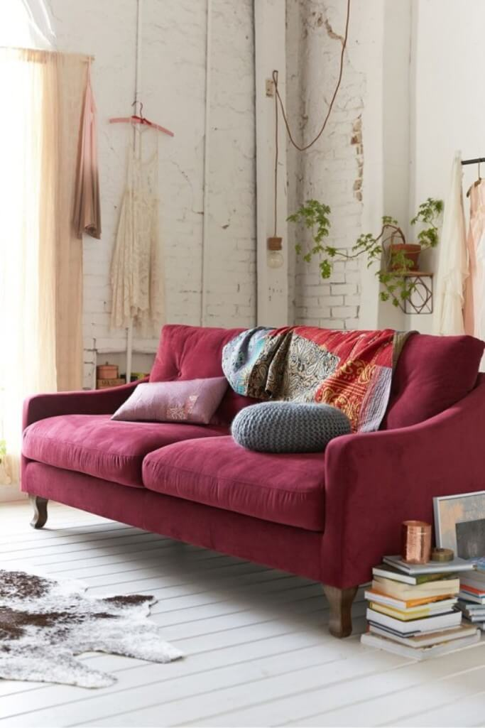 Shabby Chic Living Room with Marsala