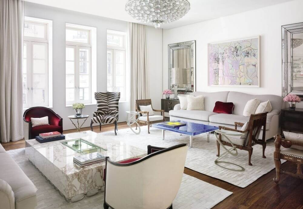Spacious Bright Living Room with Zebra Armchair