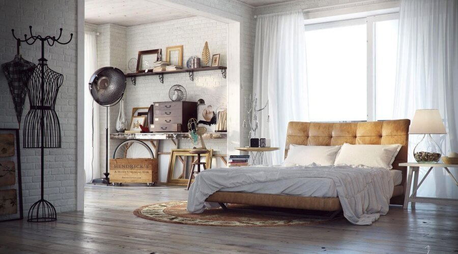 Spacious Indsutrial Chic Bedroom
