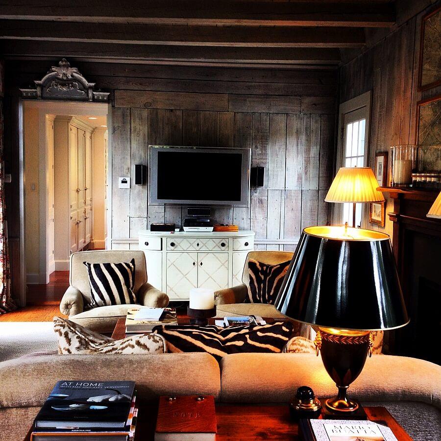 Zebra Print Pillows In Chalet Living Room