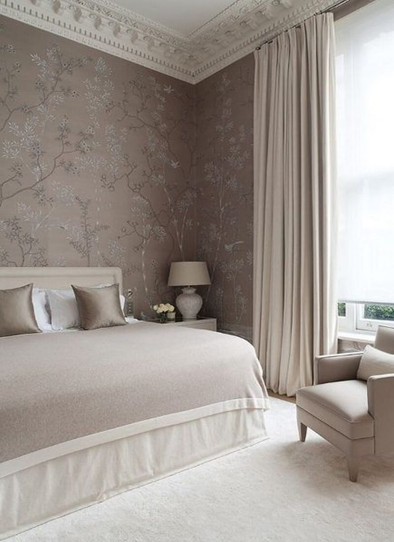 11 serene neutral bedroom designs to inspire https for Gray wallpaper bedroom