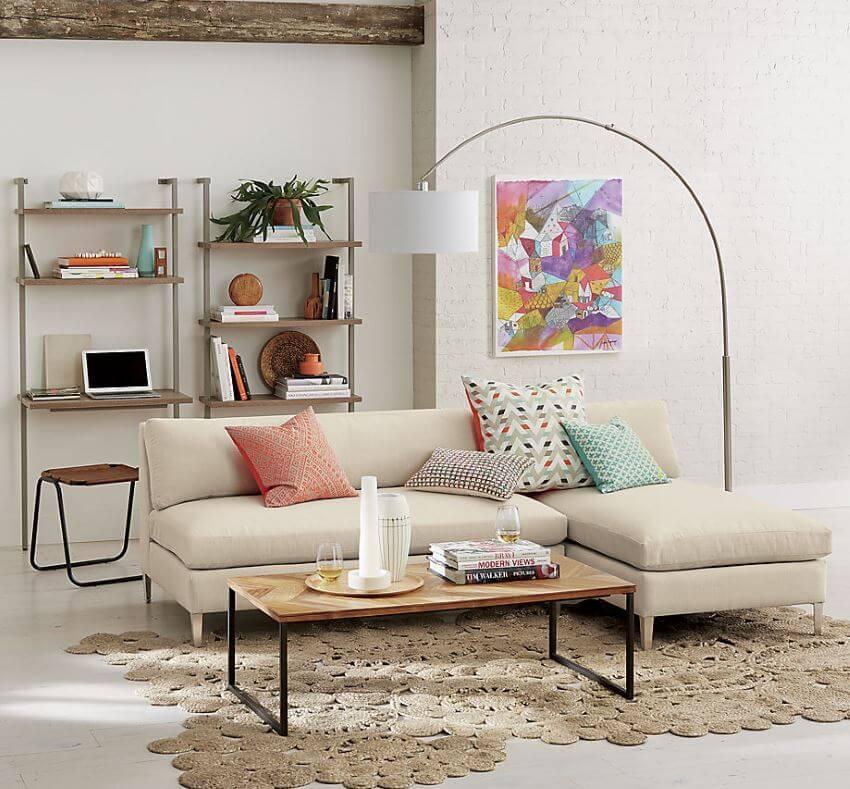 2 Piece Creamy White Sectional Sofa