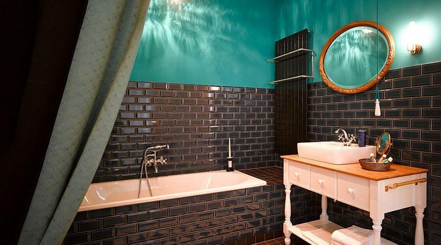 Beautiful Blue Eclectic Bathroom
