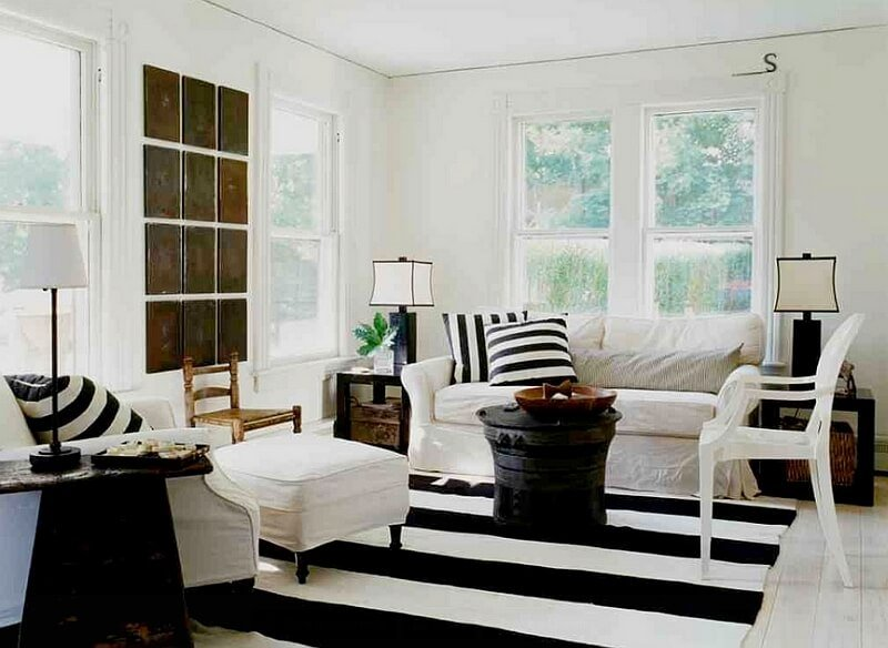 Chic Black and White Living Room
