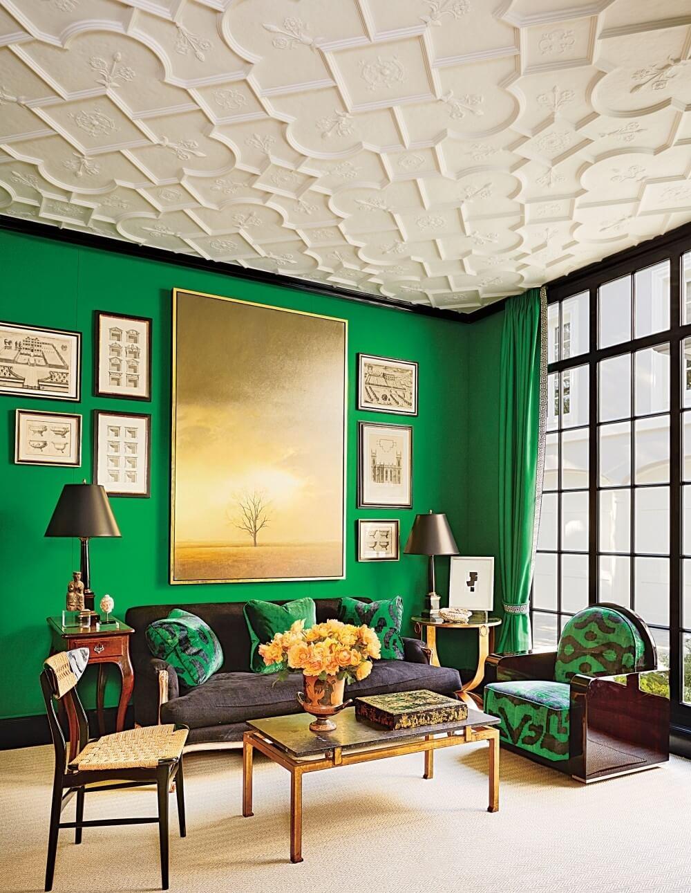 Incredible Black Green Living Room Idea