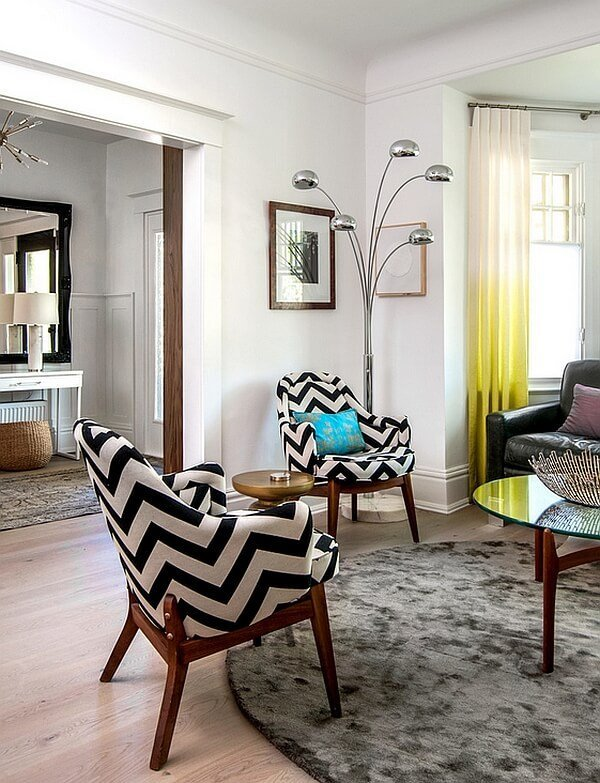 chevron accents in 9 modern and cheery living room designs https
