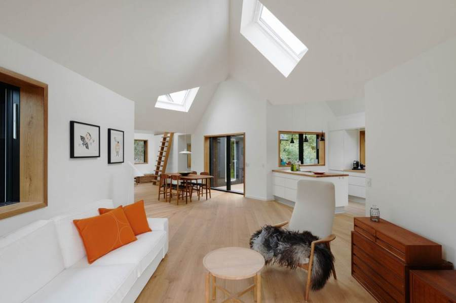 Chic Living Room with skylight