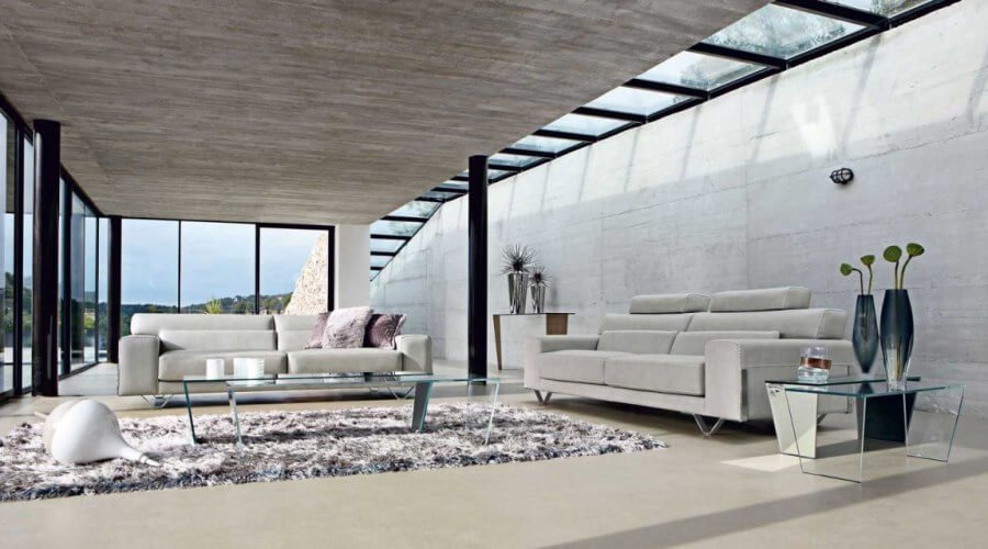 Contemporary Living Room with skylight