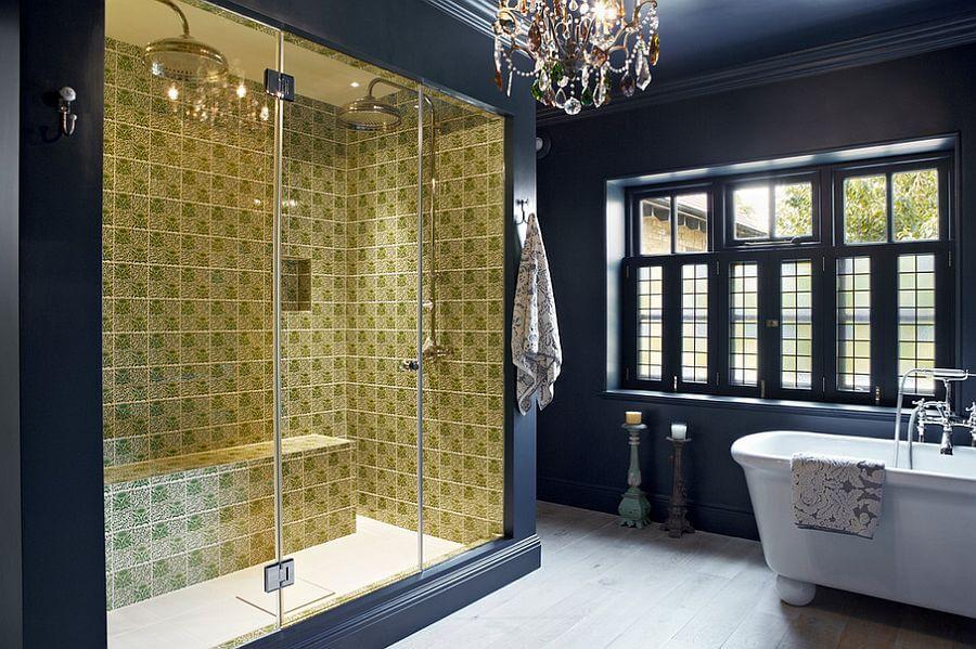 Dark Blue Eclectic Bathroom