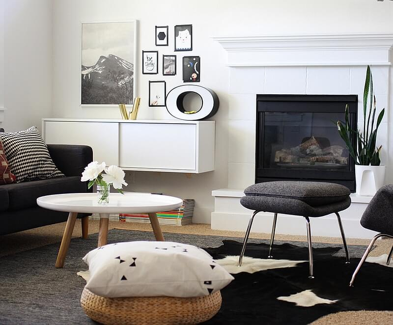 Eclectic Black and White Living Room