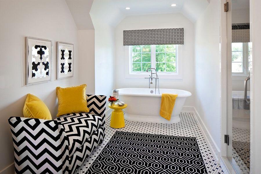 Eclectic Yellow Bathroom