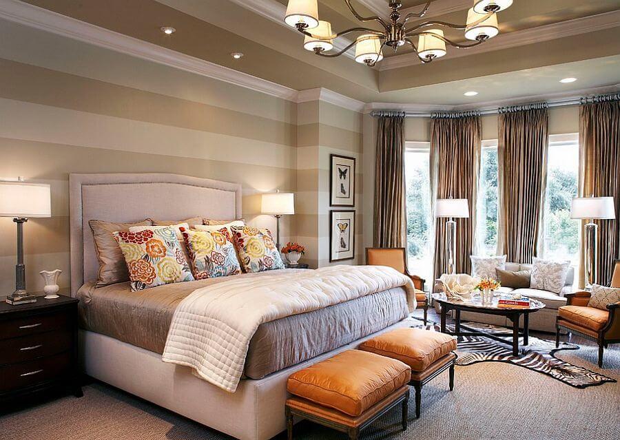 Elegant Bedroom with beige striped walls