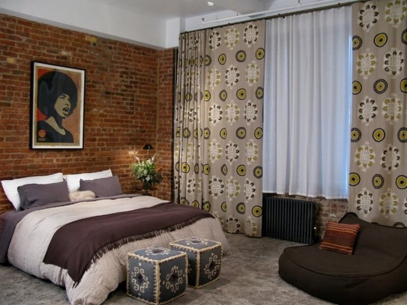 Elegant-Double-Layers-Curtains-Bedroom-Ideas-for-Young-Women-with-Rustic-Red-Brick-Wall-also-White-Orchid-and-Man-Portrair-also-Suede-Bed-Cover-and-Square-Mozaic-Ottoman-also-Artwork-Decor-700x560
