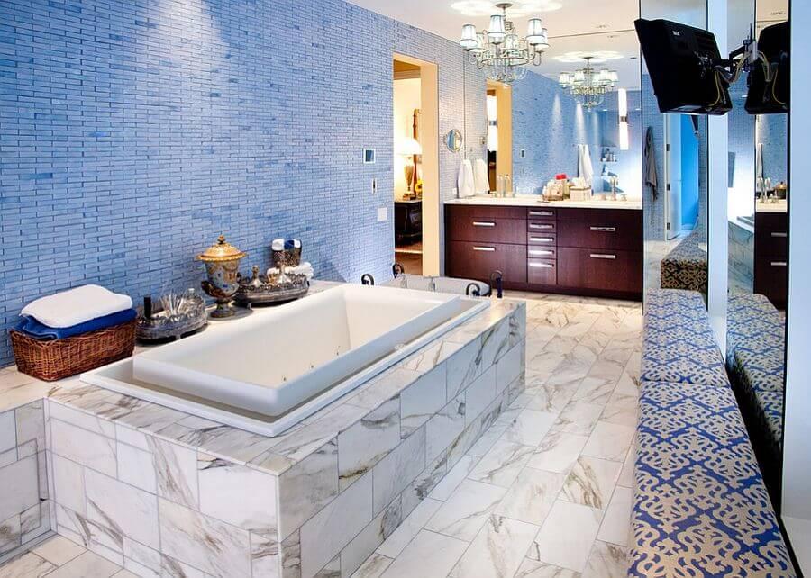 Magnificient Blue Eclectic Bathroom