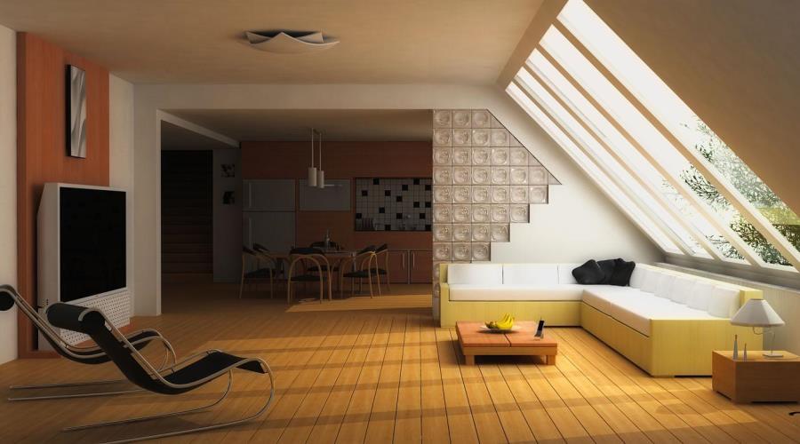 Minimalist Living Room with skylight
