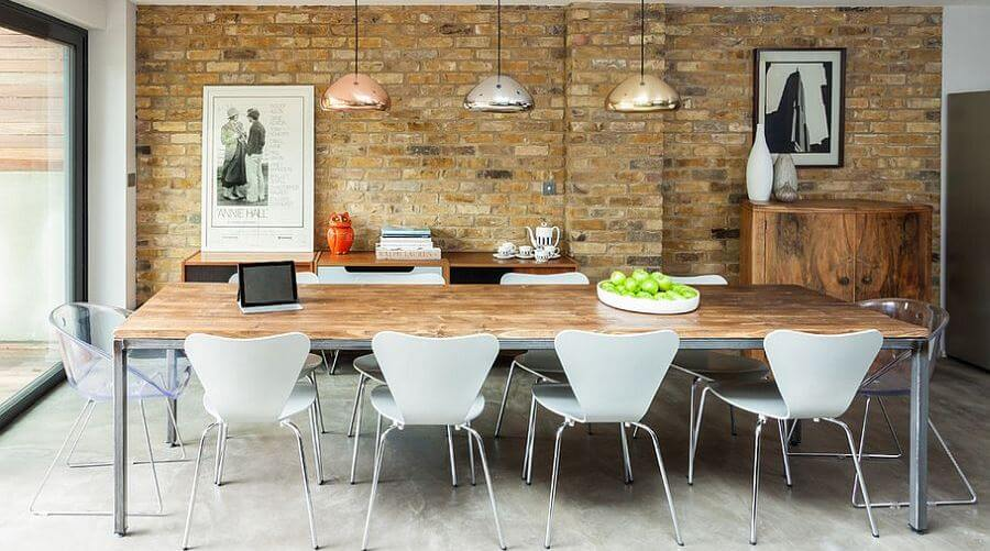 Exposed brick walls in 10 cool dining room design ideas for Cool dining room ideas