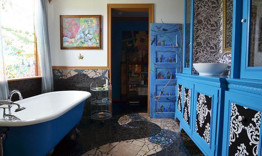 Navy Blue Eclectic Bathroom