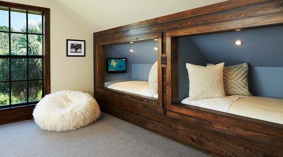 Rustic Kid's Bedroom with Slooping Roof