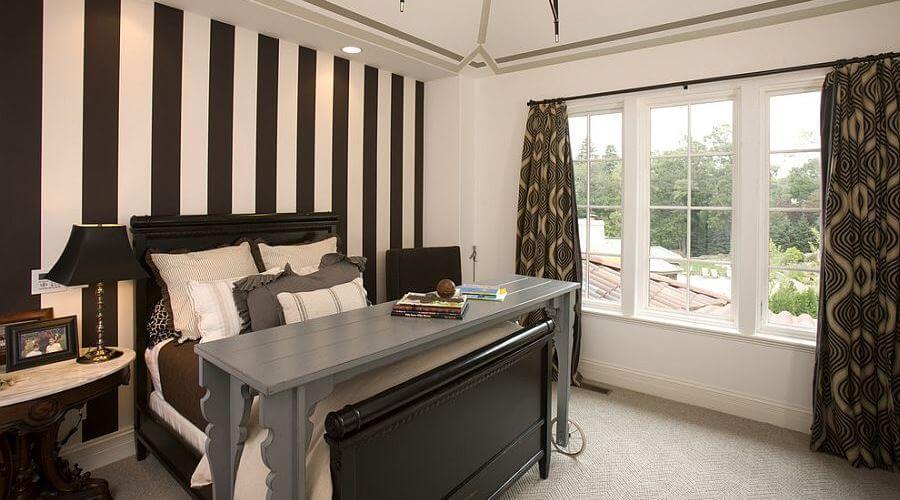 Splendid Bedroom with Vertical Stripes